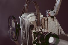 Close-up of an old film projector. Royalty Free Stock Photos