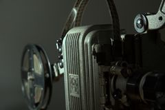 Close-up of an old film projector. Stock Photos
