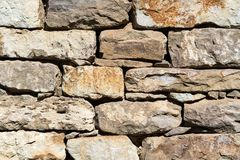 Close up of old flat brown and gray stone wall texture. Layered rocks on a house or building. Architectural stone wall exterior. Close up of old flat brown and royalty free stock image