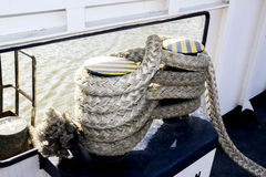 Close-up of old frayed boat rope as a background Stock Images