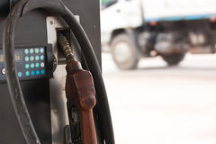 Close up the old Gas pump nozzles Stock Photography