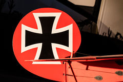 Close-up of an old german triplane Royalty Free Stock Photo