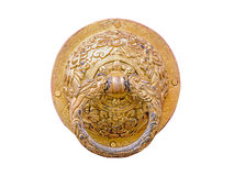 Close up old gold knocker. Close up old style gold knocker isolated on white background with clipping path Stock Image