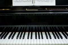 close-up old grand piano; music instrument. stock photo