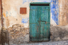 Close up of an old green wooden door. Stock Photo