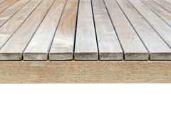 Close up old grey wooden flooring isolated on white. Background Stock Photography