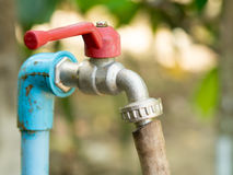 Close up old grunge brass faucet water in nature park background Royalty Free Stock Photo