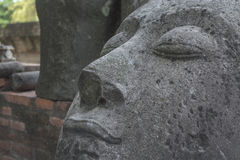 Close up old head of buddha Stock Photography