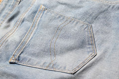 Close up of old jeans back pocket Royalty Free Stock Photo