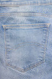 Close up of old jeans backside pocket Royalty Free Stock Photos