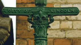 Close up of Old Lincoln Lamp Post Stock Image