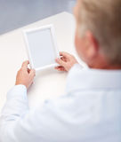 Close up of old man holding blank photo frame. Oldness, memories, loneliness and people concept - close up of old man holding blank photo frame Royalty Free Stock Photo