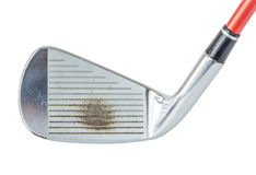 Close up the old metal golf club on white background, golf sport. Concept Royalty Free Stock Photo