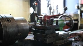 Close up old metal milling machine stock video footage