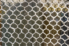 Close up old metal netting with wooden background Royalty Free Stock Photos