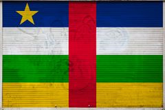 Close-up of old metal wall with national flag. Of Central African Republic. Concept of Central African Republic export-import, storage of goods and national vector illustration