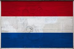 Close-up of old metal wall with national flag. Of Netherlands. Concept of Netherlands export-import, storage of goods and national delivery of goods. Flag in vector illustration