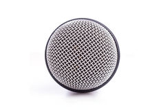 Close up old microphone isolated on white. Background Stock Photo