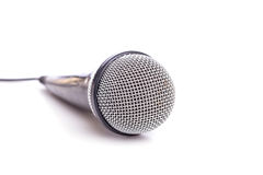 Close up old microphone isolated on white. Background Royalty Free Stock Photo
