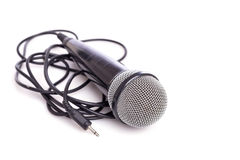 Close up old microphone isolated on white. Background Stock Photos