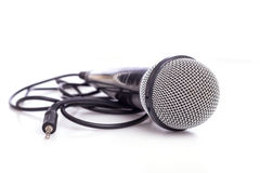 Close up old microphone isolated on white. Background Stock Image