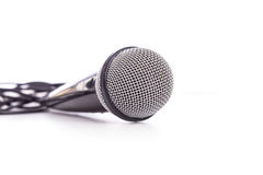 Close up old microphone isolated on white. Background Stock Images