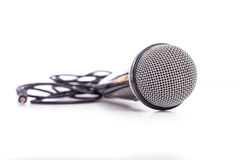Close up old microphone isolated on white. Background Royalty Free Stock Image