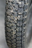 Close up old motorcycle tire Stock Photography