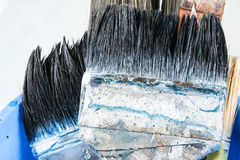 Close up of old paint brushes Stock Image