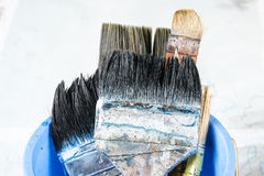 Close up of old paint brushes Stock Images