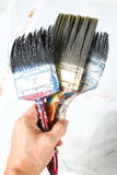 Close up of old paint brushes Royalty Free Stock Images