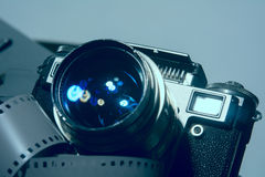 Close-up of old photo camera with metallic color. Royalty Free Stock Photography