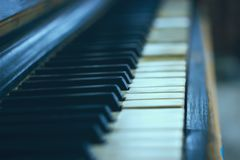 Close-up of an old piano keyboard. Royalty Free Stock Photography