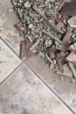 Close up of an old pile of bricks floor tile Stock Photo