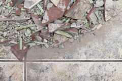 Close up of an old pile of bricks floor tile Royalty Free Stock Photography