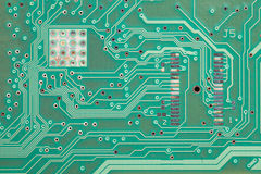 Close up of old printed green circuit board Royalty Free Stock Photography