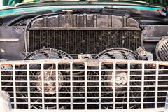 Close-up of old radiator of retro vintage car Stock Photography