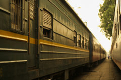 Close-up of old railroad cars with windows Stock Images