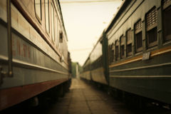 Close-up of old railroad cars with windows Stock Photography