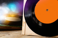 Close up of old record with glitter overlay. room for text Royalty Free Stock Photos