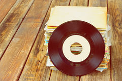 Close up of old record and records stack pic Stock Images