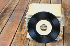 Close up of old record and records stack pic Royalty Free Stock Images