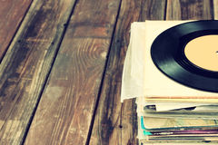 Close up of old record and records stack Stock Photos