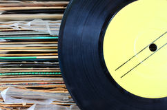 Close up of old record and records stack Royalty Free Stock Photo