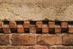 Close up of old red brick wall. With patterned horizontal line , it can be used as a background Royalty Free Stock Images