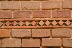 Close up of old red brick wall. With patterned horizontal line , it can be used as a background Royalty Free Stock Photos