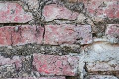 Close up old red brick wall texture background. Royalty Free Stock Photo