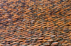Close up the old red roof tile pattern and this capture from Tha Stock Photo