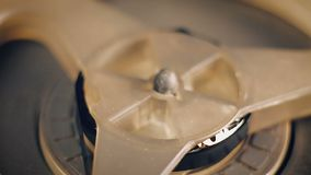Close-up of the old reel-to-reel tape recorder stock video footage