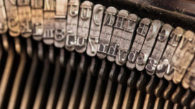 Close-up of an old retro typewriter with paper Stock Photo